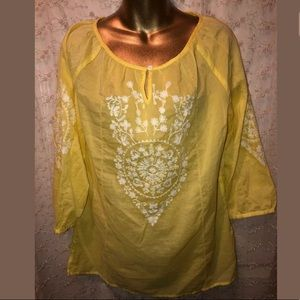 Chico's canary yellow embroidered blouse size 0